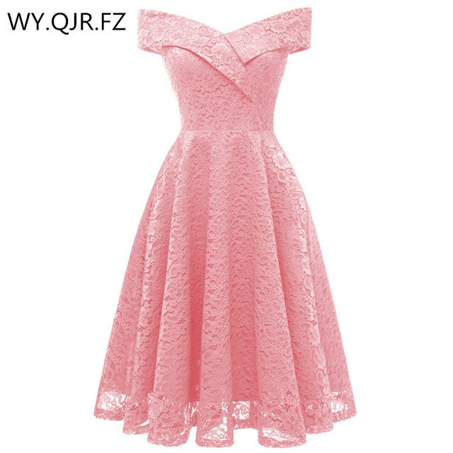 CD1610#Boat neck Pink Short Lace Bridesmaid Dresses
