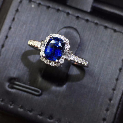 Fine Jewelry CGL Real 18 K Gold 100% Natural Unheat Royal Blue Sapphire 1,21ct Gemstones