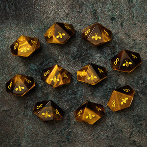 Tiger's Eye Gemstone DnD Dice Set Vampire Dice Set 10 D10s Bee Edition