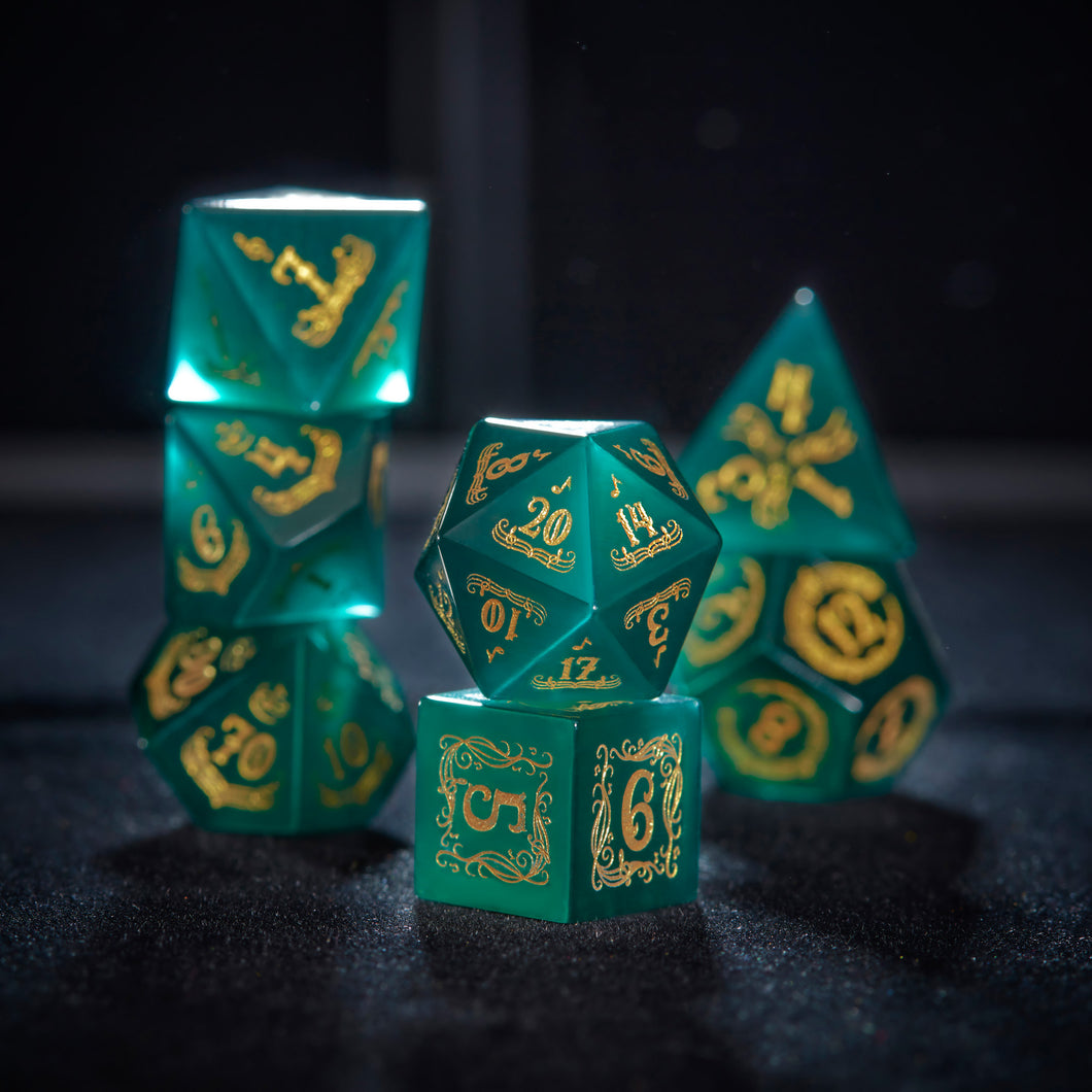 Dark Green Cat's Eye Dice Set Gemstone DnD Dice Set Music Motif