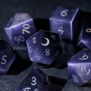 Dark Purple Cat's Eye Gemstone DnD Dice Set Engrave Font A Silver Ink Crescent Moon Version