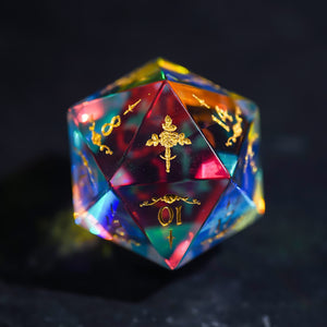 Fantastic Glass Gemstone DnD Dice Set with Engraved Font A in Gold Ink Rose Dagger Decorative Pattern Edition