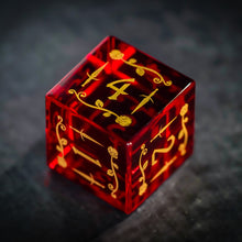 Synthesis Garnet Gemstone DnD Dice Set with Engraved Font A in Gold Ink Dagger and Rose Edition