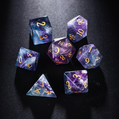 Rainbow Fluorite Gemstone DnD Dice Set with Engraved Font A in Gold Ink Crescent Moon Edition