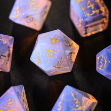 Pink Opalite Gemstone DnD Dice Set with Engraved Font A in Gold Ink Decorative Pattern Dagger Rose Edition