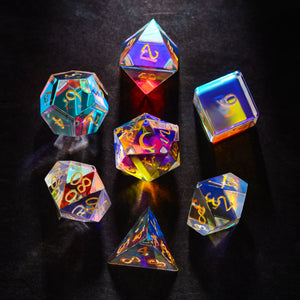 Fantastic Glass DnD Dice Set Gemstone Dice Set Font A Moon Crescent Edition