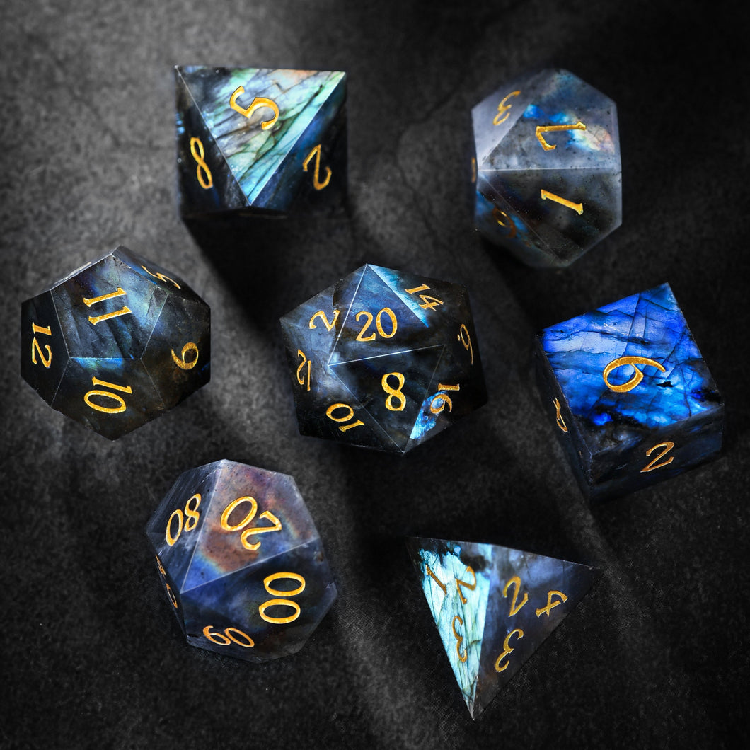 Labradorite Gemstone DnD Dice Set with Engraved Font A in Gold Ink Crescent Moon Edition
