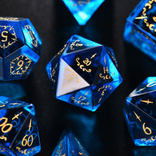 Blue Zircon Glass Gemstone DnD Dice Set with Engraved Font A in Gold Ink Moon Dagger Edition