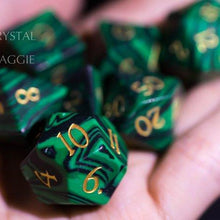 Malachite DnD Gemstone Polyhedral Dice Set with Engraved Font A in Gold