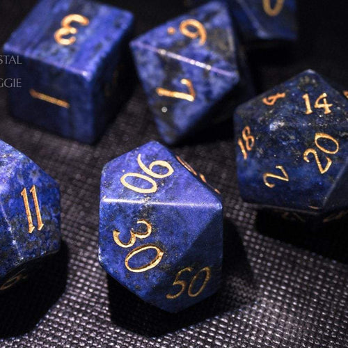 Lapis Lazuli DnD Dice Set All Number Edition
