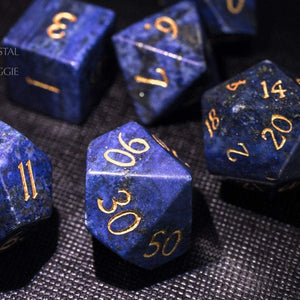 Lapis Lazuli Gemstone DnD Dice Set with Engraved Font A in Gold Ink