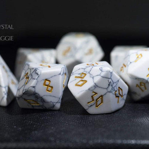 White Turquoise DnD Dice Set All Number Edition