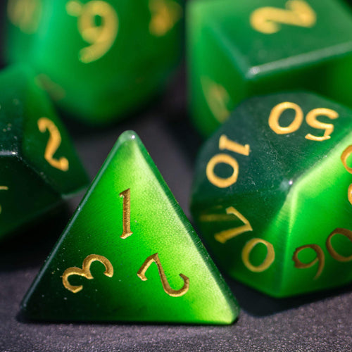 Green Cat's Eye Gemstone DnD Dice Set with Engraved Font A in Gold Ink