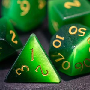 Green Cat's Eye Gemstone DnD Dice Set Engrave Font A Gold Ink