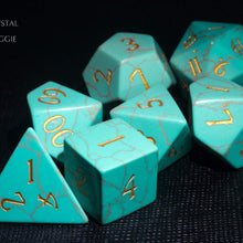 Turquoise Gemstone DnD Dice Set with Engraved Font A in Gold Ink