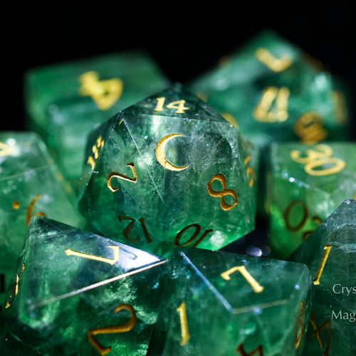 Green Fluorite Gemstone DnD Dice Set Engrave Font A Gold Ink Crescent Moon Version