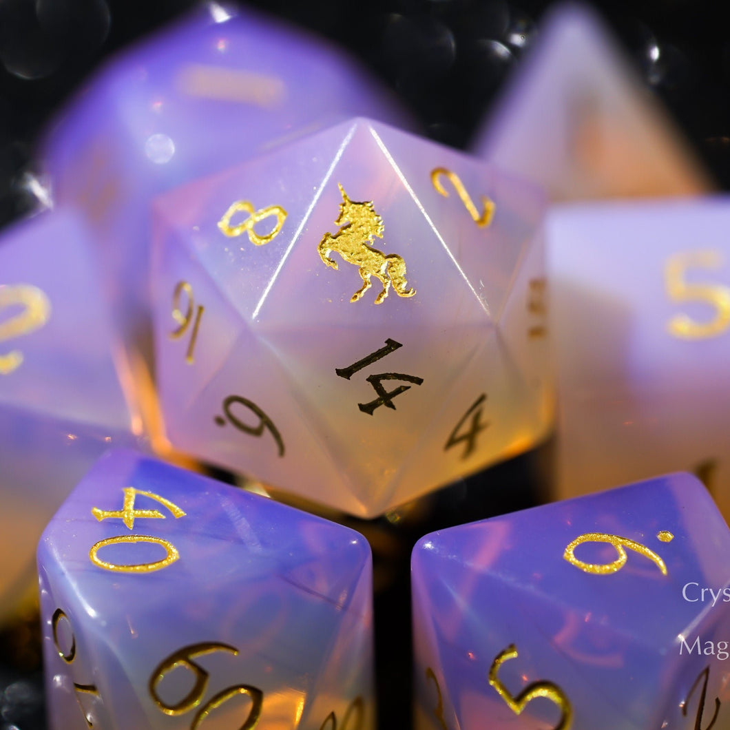 Pink Opalite Gemstone DnD Dice Set with Engraved Font A in Gold Ink Unicorn Edition