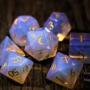 Pink Opalite Gemstone DnD Dice Set Engrave Font A Gold Ink Crescent Moon Version