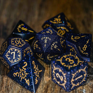 Blue Sandstone DnD Dice Set Dagger Lunar Moon Edition