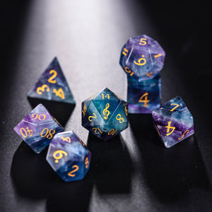 Rainbow Fluorite DnD Dice Set Music Note Edition