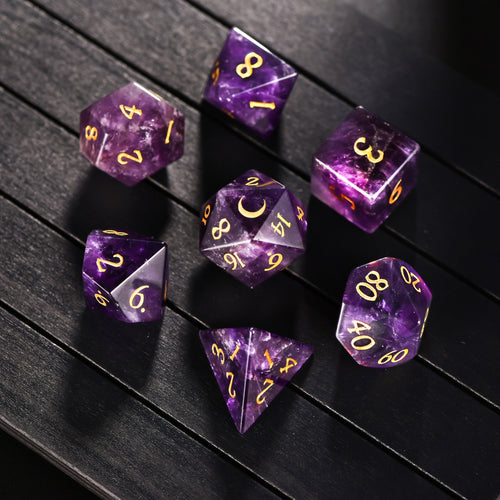 Amethyst DnD Dice Set Moon Edition