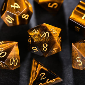 Tiger's Eye DnD Dice Set All Number Edtion