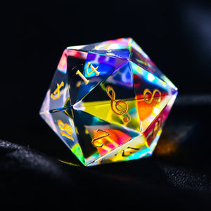 Fantastic Glass DnD Dice Set Music Note Edition