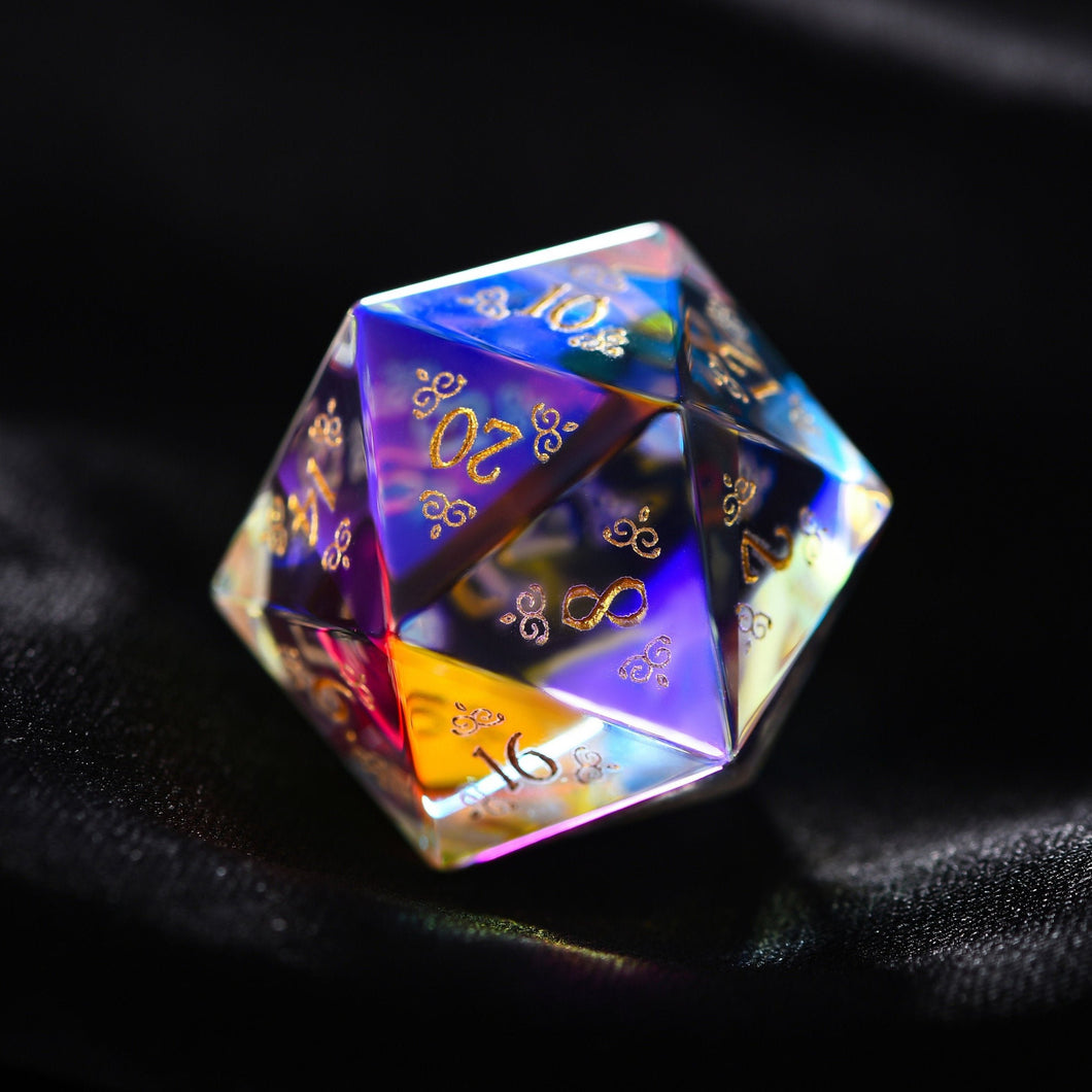 Fantastic Glass Gemstone DnD Dice Set with Engraved Font A in Gold Ink Decorative Pattern Edition