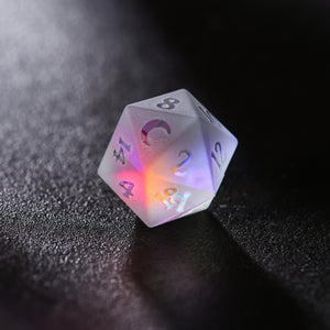 Raised Fantastic Glass DnD Dice Set Moon Edition