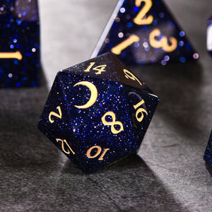 Blue Sandstone DnD Dice Set Moon Edition