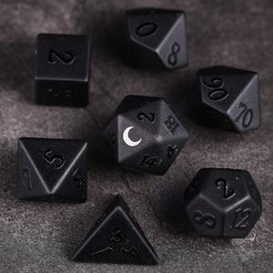 Raised Obsidian DnD Dice Set Moon Edition