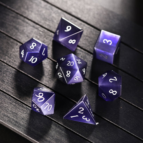 Dark Purple Cat's Eye Gemstone DnD Dice Set with Engraved Font A in Silver Ink All Number Dice