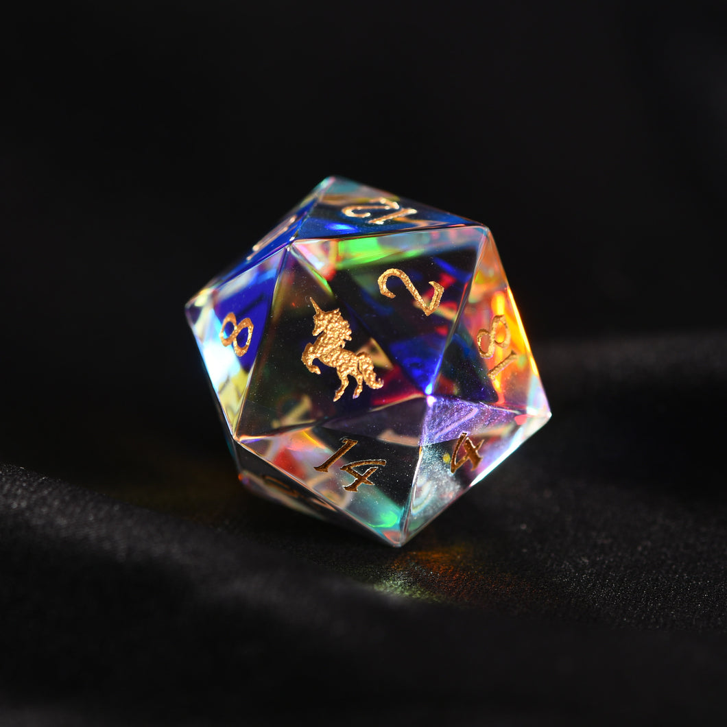 Fantastic Glass DnD Dice Set Unicorn Edition