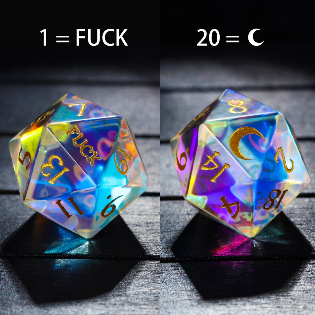 Fantastic Glass Gemstone DnD Dice with Engraved Font A in Gold Ink Fuck Moon Edition