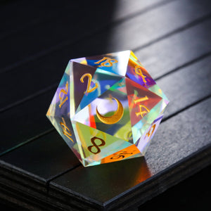 Giant 30mm Fantastic Glass Gemstone DnD Dice D20 Only Moon Edition