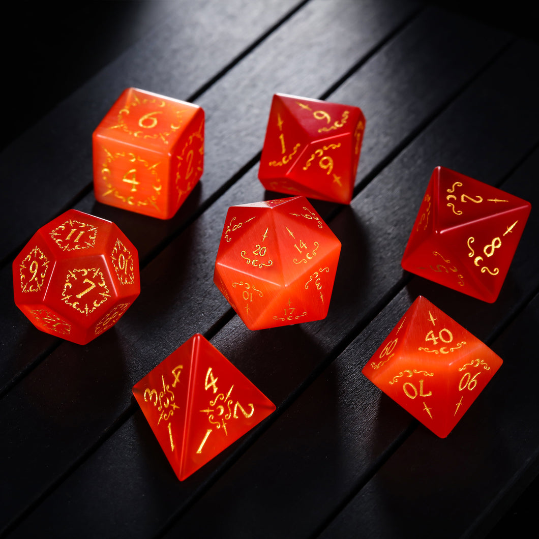 Red Cat's Eye DnD Dice Set Dagger Moon Motif
