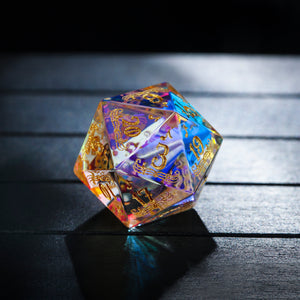 Fantastic Glass Gemstone DnD Dice Set Music Motif