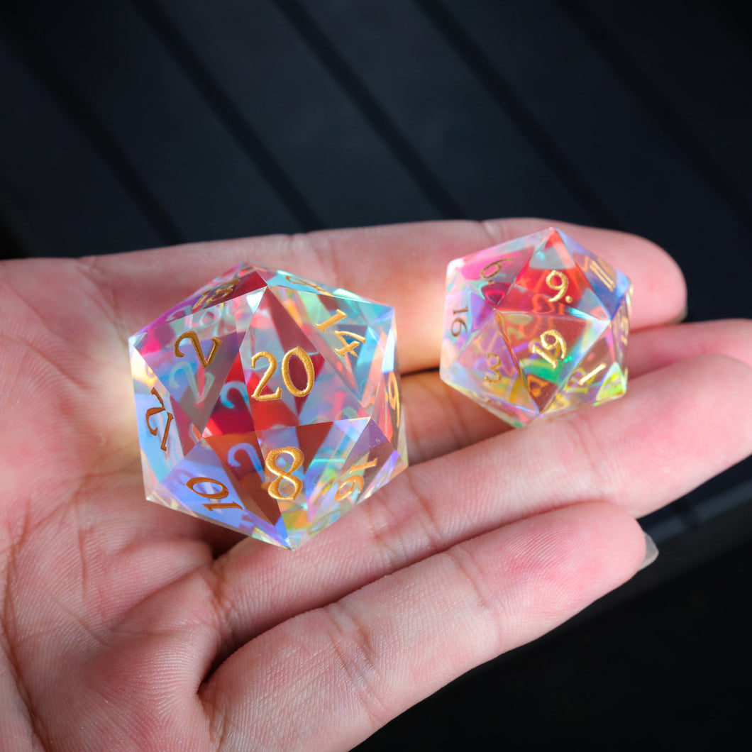 Giant 30mm Fantastic Glass Gemstone DnD Dice D20 Only