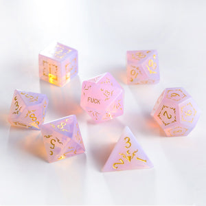 Pink Opalite Gemstone DnD Dice Set Antler Moon Motif Rabbit F*ck Edition