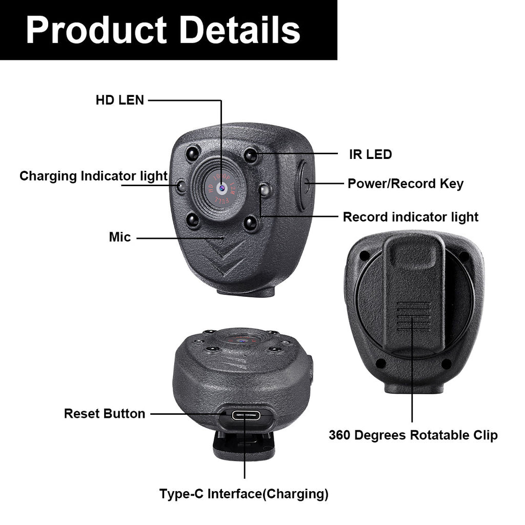 Mini Body Camera HD1080P Video Recorder Built-in 32GB Memory Card, Wearable Police Cam with Night Vision, Pocket Clip for Office, Law Enforcement, Security Guard, Home, Car, Bike, Hiking