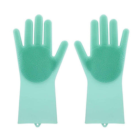 Image of Magic Silicone Gloves with Wash Scrubbe for Multipurpose - Kitchen, Bed Room, Bathroom, Pet Care, Hair Care