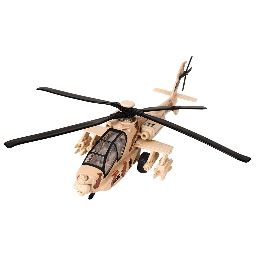 LUCKJOY 11.2 inch Pull Back Military Helicopter Toy with Lights and Sounds Army Plane Airplane for Kids Children Boys Girls