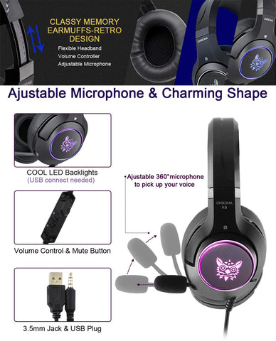 YIJIAOYUN Stereo Wired Over Ear Gaming Headset K9 for Xbox One,PS4, Laptop Mac Nintendo Switch