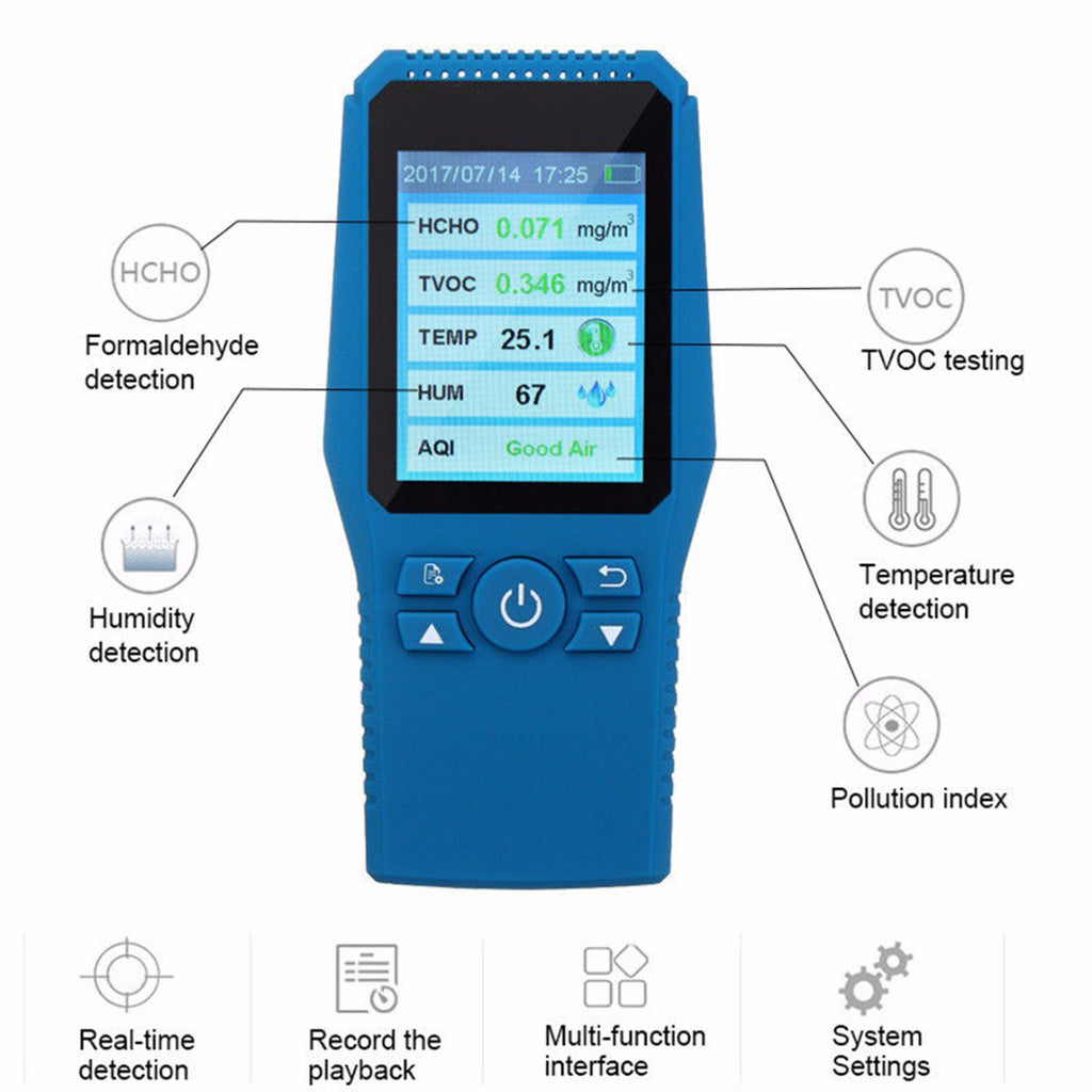 Digital Formaldehyde Detector Using Electrochemical Testing Technology, Air Quality Monitor with  Accurate TEMP/HUM/HCHO/TVOC/AQI Test Charged by USB