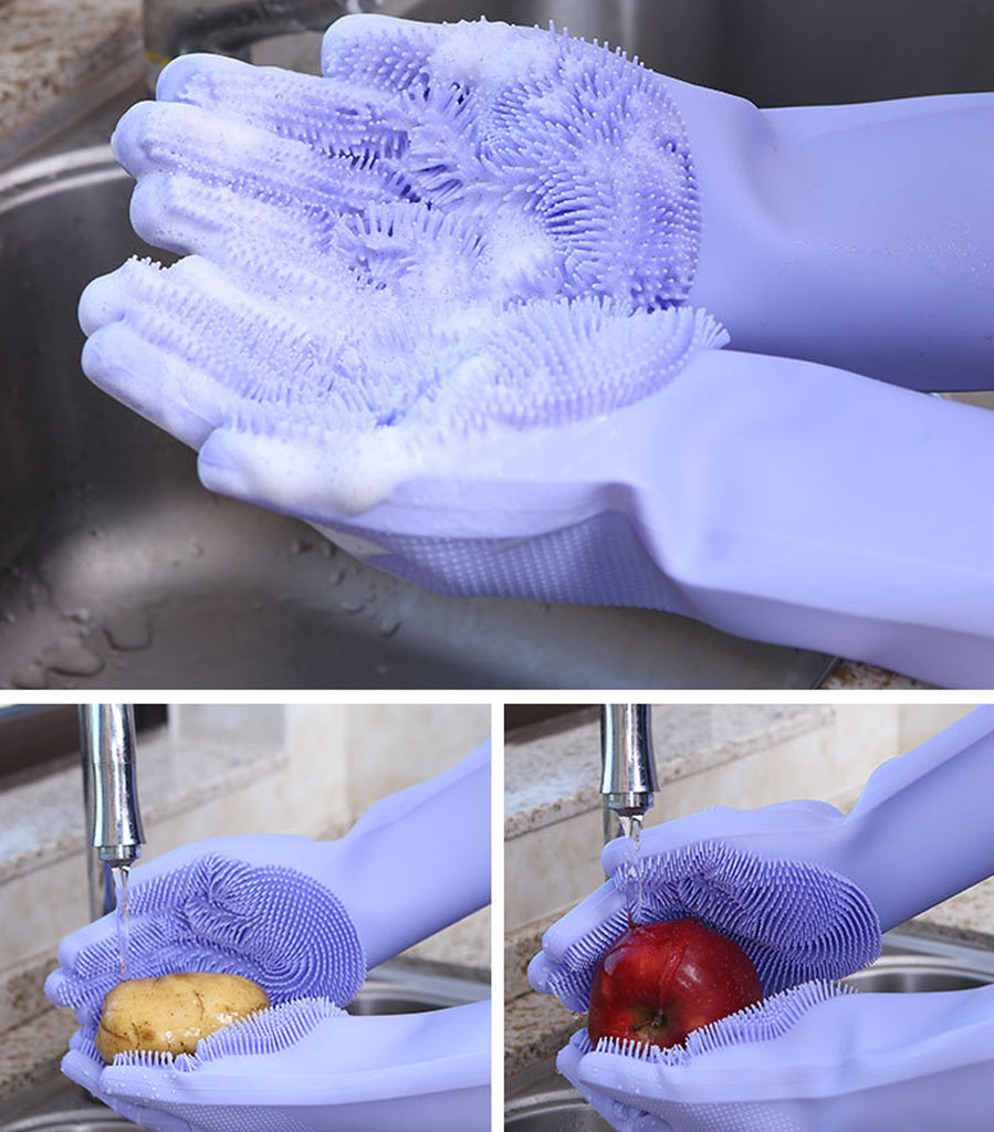 Magic Silicone Gloves with Wash Scrubbe for Multipurpose - Kitchen, Bed Room, Bathroom, Pet Care, Hair Care