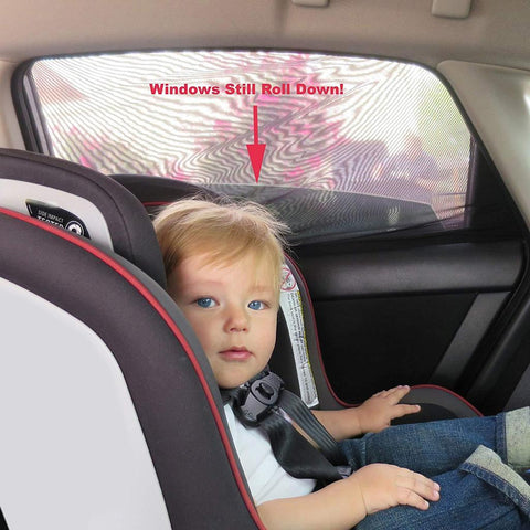 Image of An Genius Temporary Fix for Shading the Kids while Driving