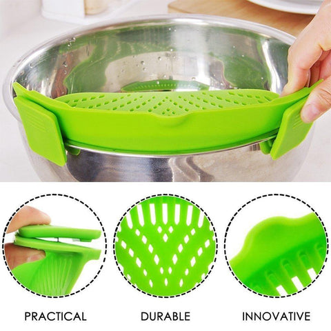 Image of YIJIAOYUN Clip-On Silicone Colander, 1 Size Fits ALL!