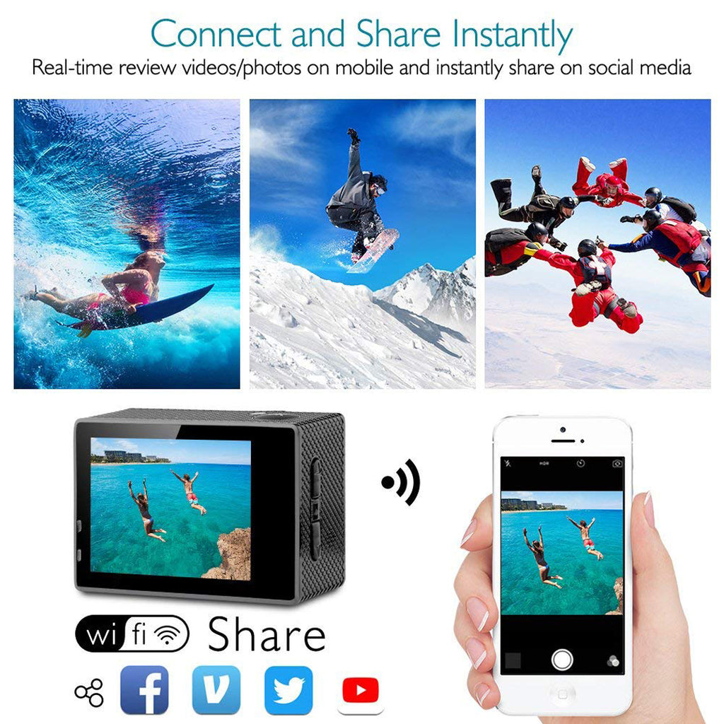 YIJIAOYUN 4K Action Camera 16MP Vision 3 Underwater Waterproof Camera 170° Wide Angle