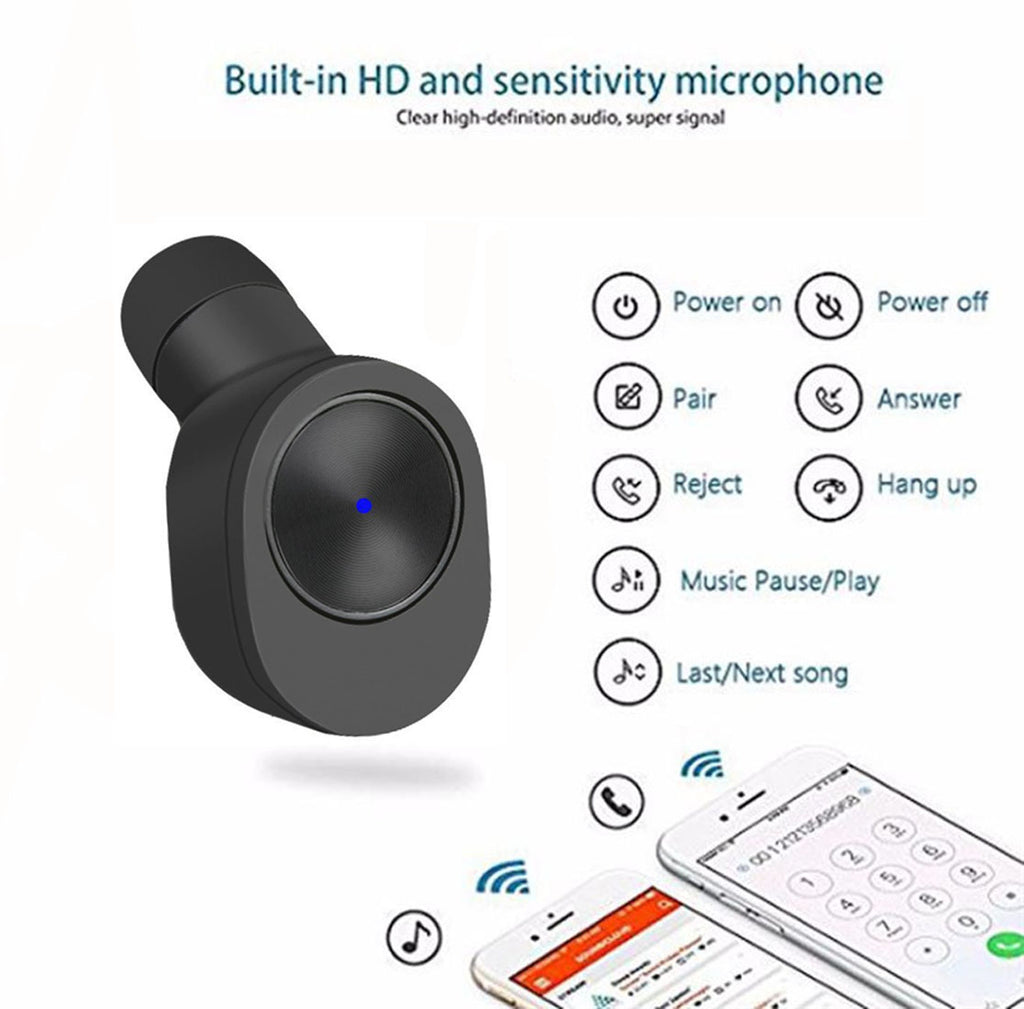 True Wireless Stereo GW10 Earbuds, Bluetooth V4.2 In-Ear Headset, Noise Cancelling Earphone with Charging Case, Invisible Headphone with Mic for Running Gym Workout for iPhone Samsung