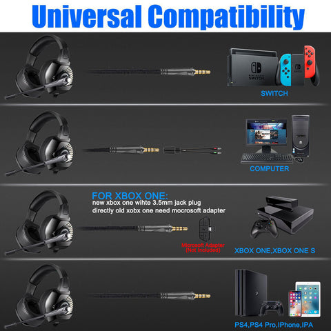 K6 Stereo Gaming Headset for Laptop Mac Nintendo Switch Games, Over Ear 3.5mm Headphone with Mic, LED Light, Noise Cancelling Bass Surround, Soft Memory Earmuffs for PS4, PC, Xbox One Controller